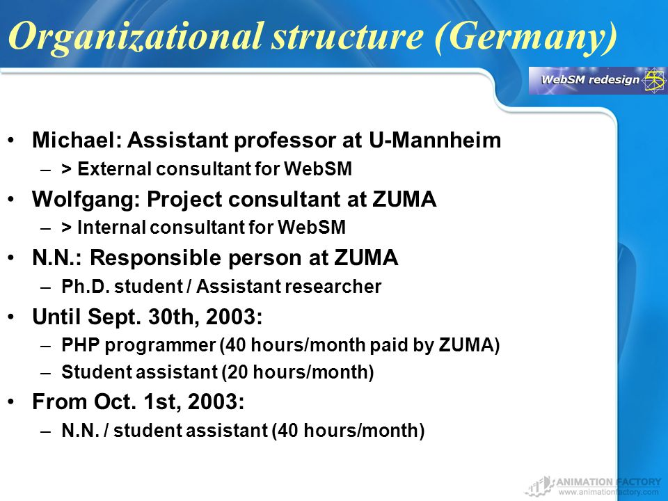 Organizational structure (Germany) Michael: Assistant professor at U-Mannheim –> External consultant for WebSM Wolfgang: Project consultant at ZUMA –> Internal consultant for WebSM N.N.: Responsible person at ZUMA –Ph.D.