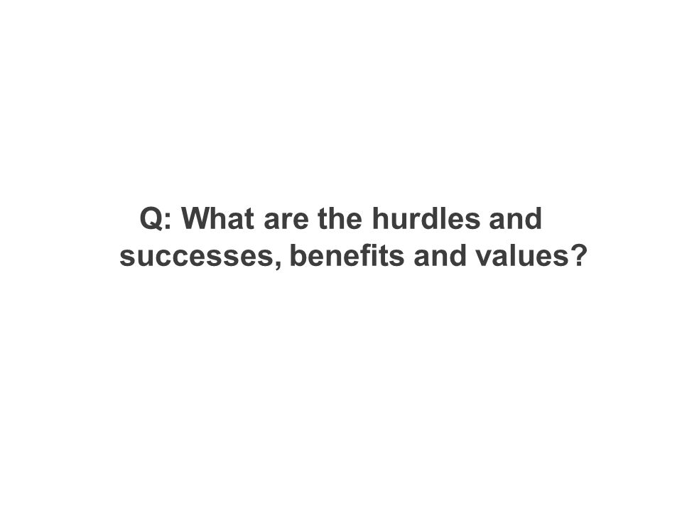Q: What are the hurdles and successes, benefits and values?