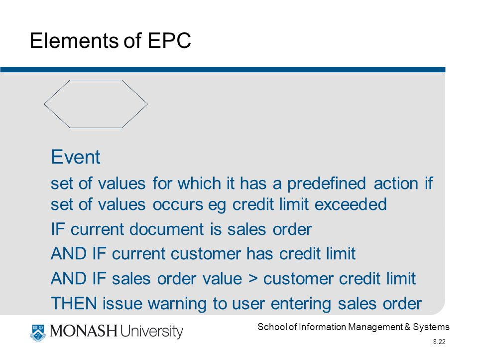 School of Information Management & Systems 8.22 Elements of EPC Event set of values for which it has a predefined action if set of values occurs eg credit limit exceeded IF current document is sales order AND IF current customer has credit limit AND IF sales order value > customer credit limit THEN issue warning to user entering sales order
