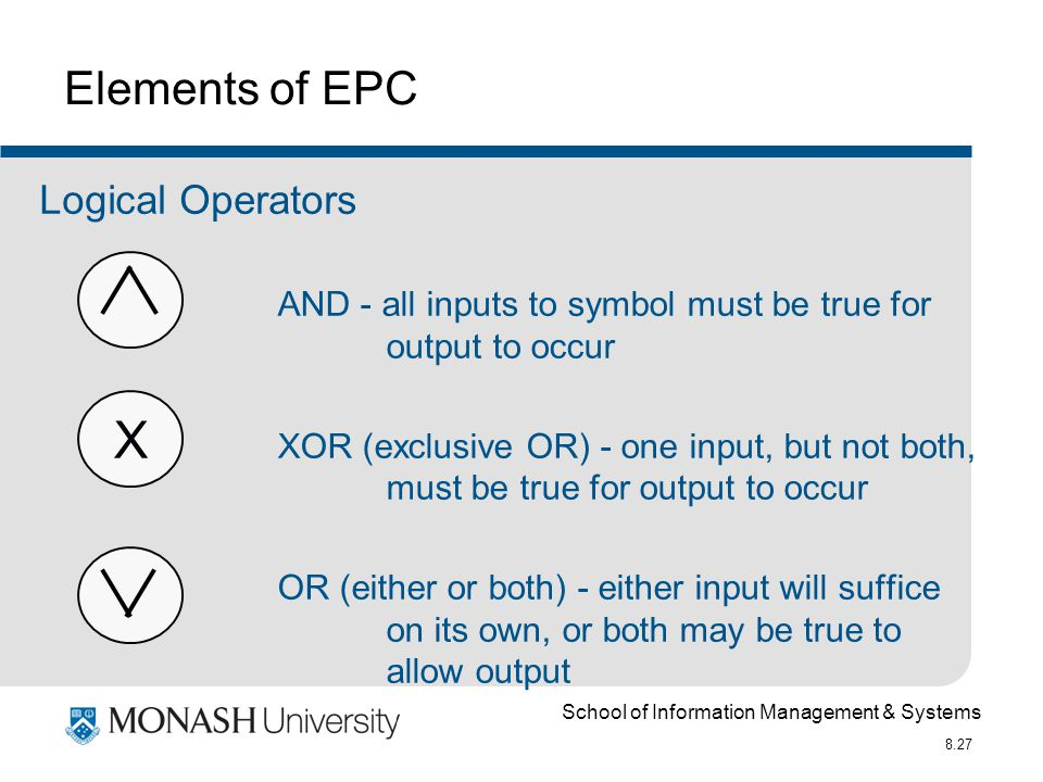 School of Information Management & Systems 8.27 X Elements of EPC AND - all inputs to symbol must be true for output to occur XOR (exclusive OR) - one input, but not both, must be true for output to occur OR (either or both) - either input will suffice on its own, or both may be true to allow output Logical Operators