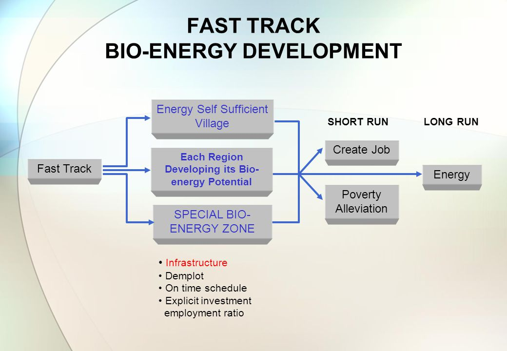FAST TRACK BIO-ENERGY DEVELOPMENT Fast Track Each Region Developing its Bio- energy Potential SPECIAL BIO- ENERGY ZONE Create Job Poverty Alleviation