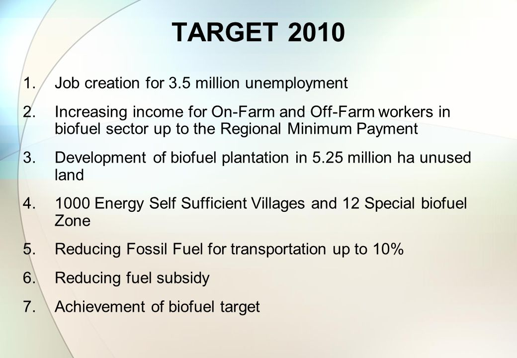 TARGET 2010 1.Job creation for 3.5 million unemployment 2.Increasing income for On-Farm and Off-Farm workers in biofuel sector up to the Regional Mini