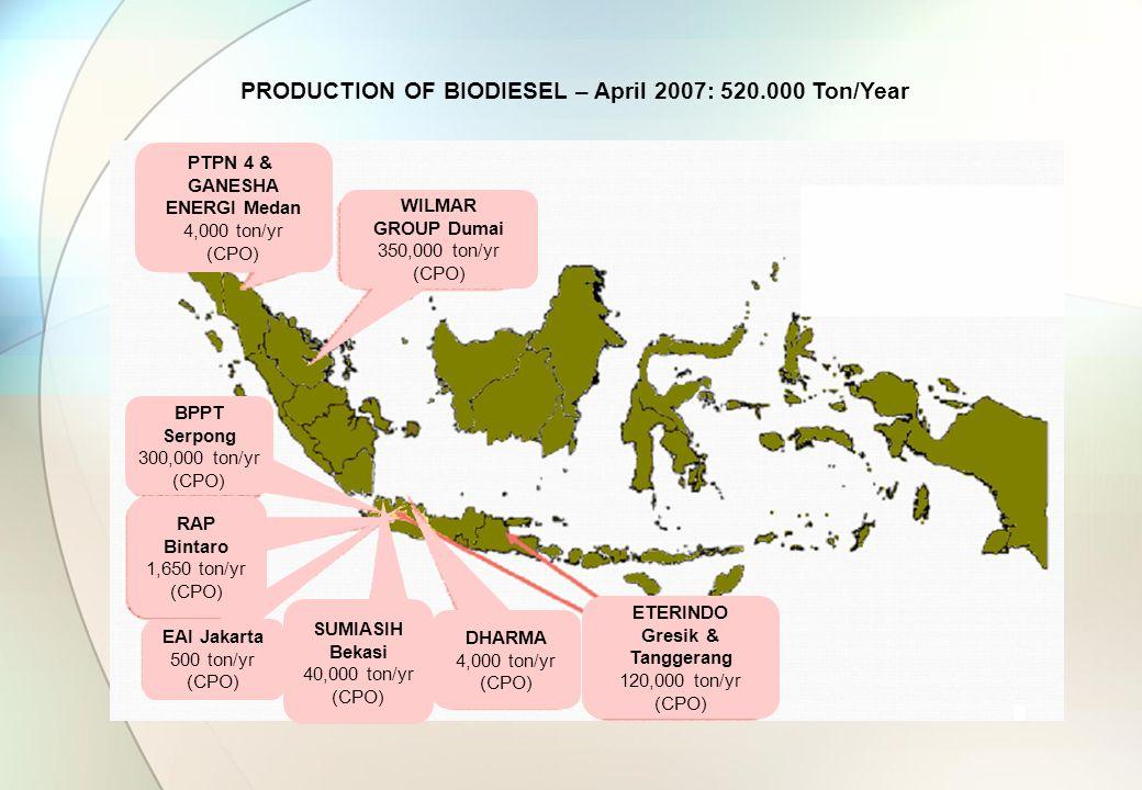 PRODUCTION OF BIODIESEL – April 2007: 520.000 Ton/Year WILMAR GROUP Dumai 350,000 ton/yr (CPO) ETERINDO Gresik & Tanggerang 120,000 ton/yr (CPO) BPPT Serpong 300,000 ton/yr (CPO) RAP Bintaro 1,650 ton/yr (CPO) PTPN 4 & GANESHA ENERGI Medan 4,000 ton/yr (CPO) SUMIASIH Bekasi 40,000 ton/yr (CPO) EAI Jakarta 500 ton/yr (CPO) DHARMA 4,000 ton/yr (CPO)
