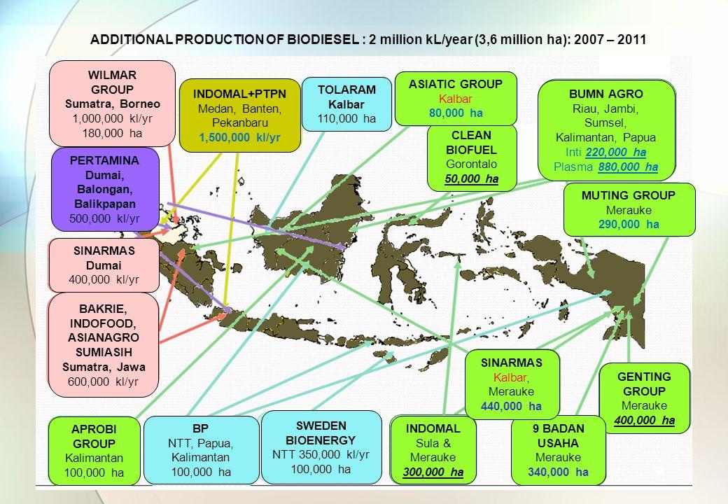 ADDITIONAL PRODUCTION OF BIODIESEL : 2 million kL/year (3,6 million ha): 2007 – 2011 Sawit Jatropha WILMAR GROUP Sumatra, Borneo 1,000,000 kl/yr 180,000 ha SINARMAS Dumai 400,000 kl/yr BAKRIE, INDOFOOD, ASIANAGRO SUMIASIH Sumatra, Jawa 600,000 kl/yr TOLARAM Kalbar 110,000 ha BP NTT, Papua, Kalimantan 100,000 ha SWEDEN BIOENERGY NTT 350,000 kl/yr 100,000 ha APROBI GROUP Kalimantan 100,000 ha INDOMAL Sula & Merauke 300,000 ha GENTING GROUP Merauke 400,000 ha 9 BADAN USAHA Merauke 340,000 ha SINARMAS Kalbar, Merauke 440,000 ha MUTING GROUP Merauke 290,000 ha CLEAN BIOFUEL Gorontalo 50,000 ha ASIATIC GROUP Kalbar 80,000 ha BUMN AGRO Riau, Jambi, Sumsel, Kalimantan, Papua Inti 220,000 ha Plasma 880,000 ha INDOMAL+PTPN Medan, Banten, Pekanbaru 1,500,000 kl/yr PERTAMINA Dumai, Balongan, Balikpapan 500,000 kl/yr