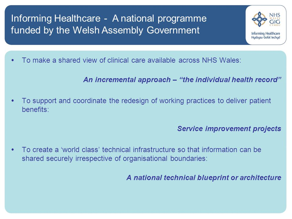 Progress on healthcare it developments in wales cheryl way 5 malvernweather Images