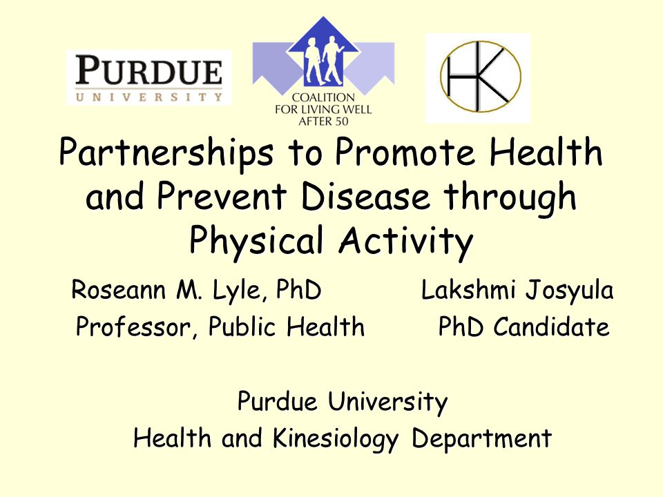 Partnerships to Promote Health and Prevent Disease through Physical Activity Roseann M.