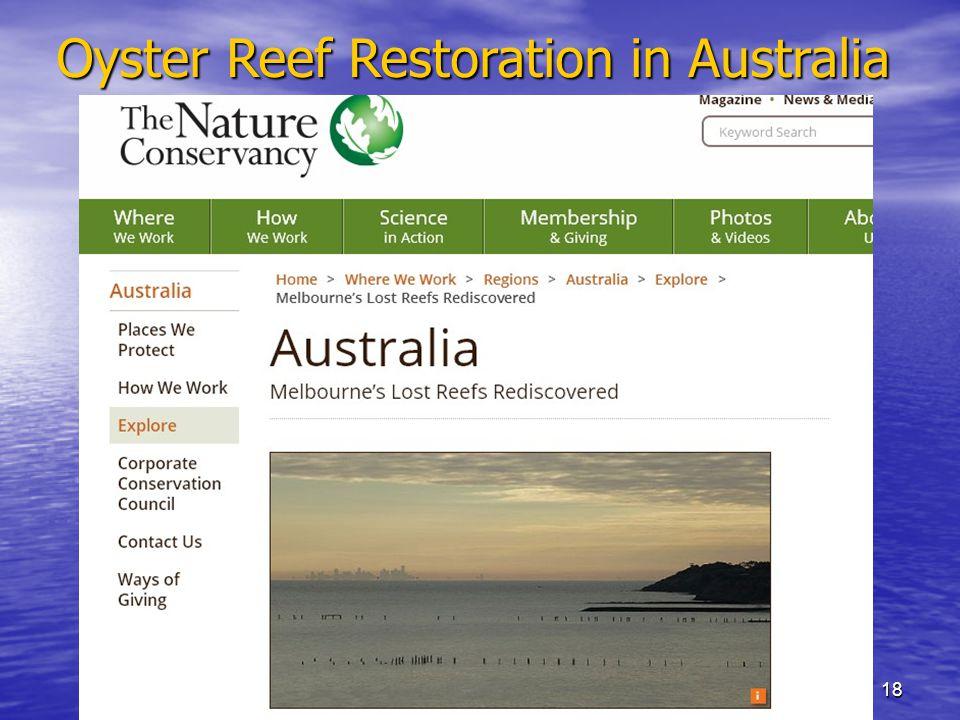 18 Oyster Reef Restoration in Australia