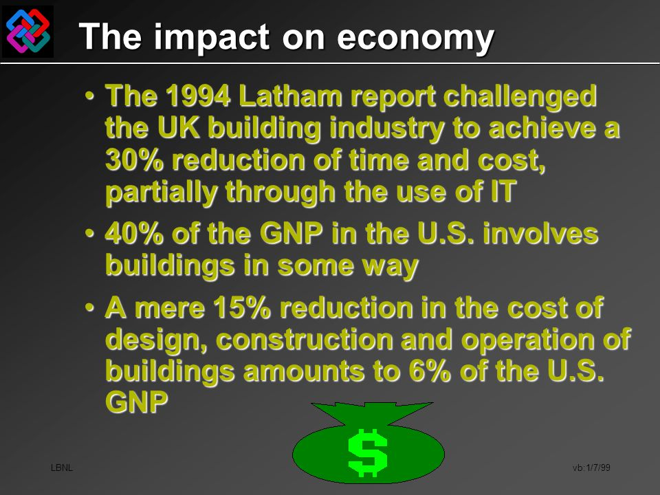 LBNL vb:1/7/99 The impact on economy The 1994 Latham report challenged the UK building industry to achieve a 30% reduction of time and cost, partially
