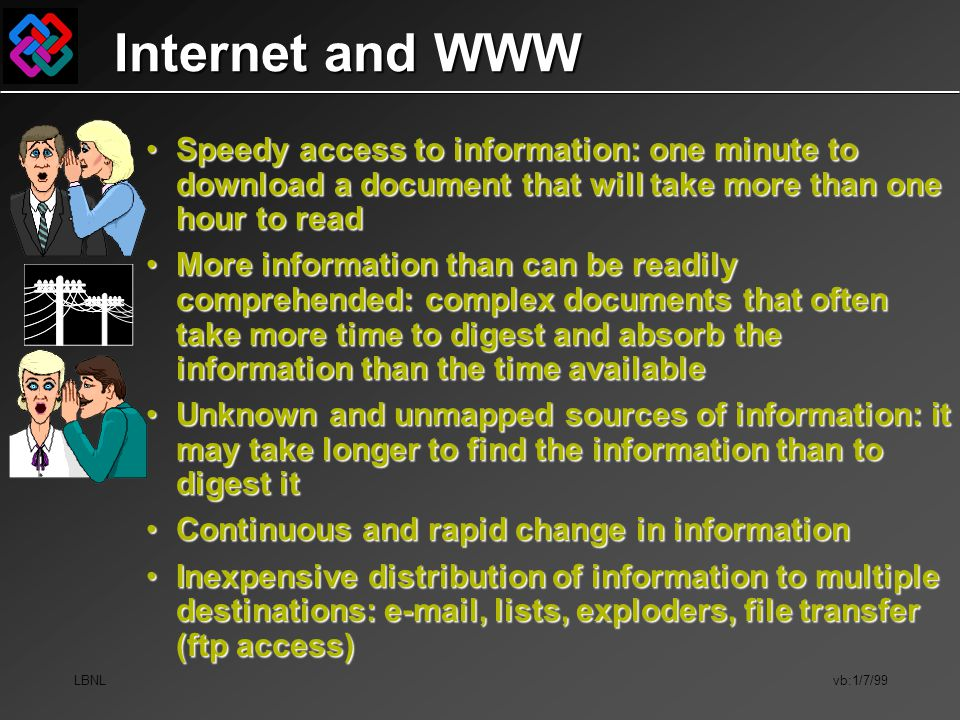 LBNL vb:1/7/99 Internet and WWW Speedy access to information: one minute to download a document that will take more than one hour to readSpeedy access