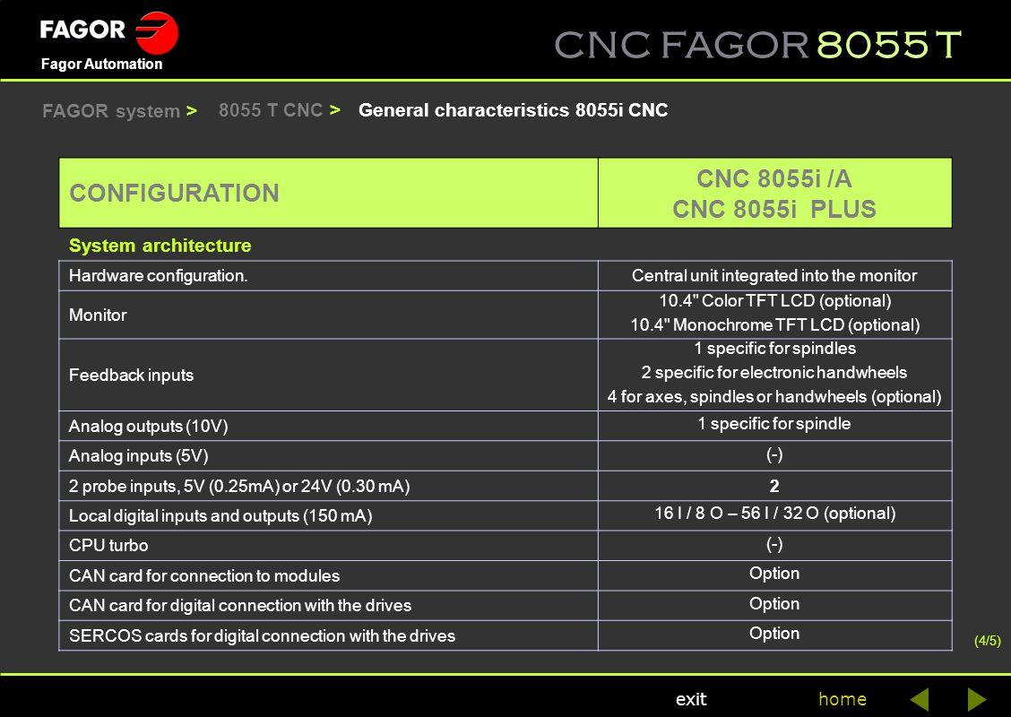 CNC FAGOR 8055 T home Fagor Automation exit General characteristics 8055i CNC8055 T CNC > CONFIGURATION CNC 8055i /A CNC 8055i PLUS System architectur