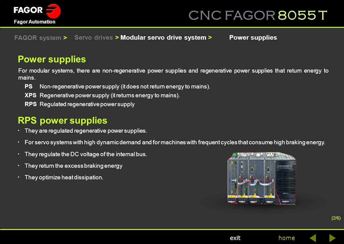CNC FAGOR 8055 T home Fagor Automation exit RPS power supplies · They are regulated regenerative power supplies. · For servo systems with high dynamic