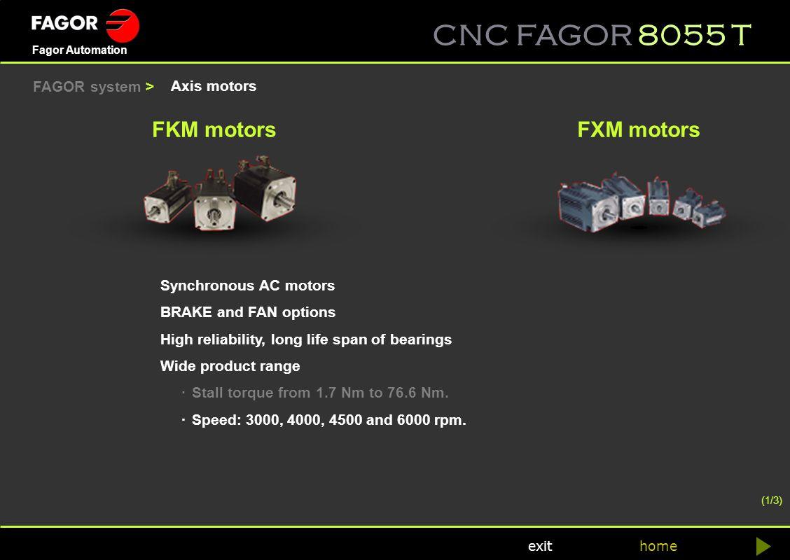 CNC FAGOR 8055 T home Fagor Automation exit Axis motors FKM motorsFXM motors Synchronous AC motors BRAKE and FAN options High reliability, long life s