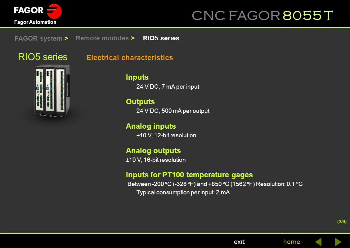 CNC FAGOR 8055 T home Fagor Automation exit RIO5 series Electrical characteristics Inputs 24 V DC, 7 mA per input Outputs 24 V DC, 500 mA per output A