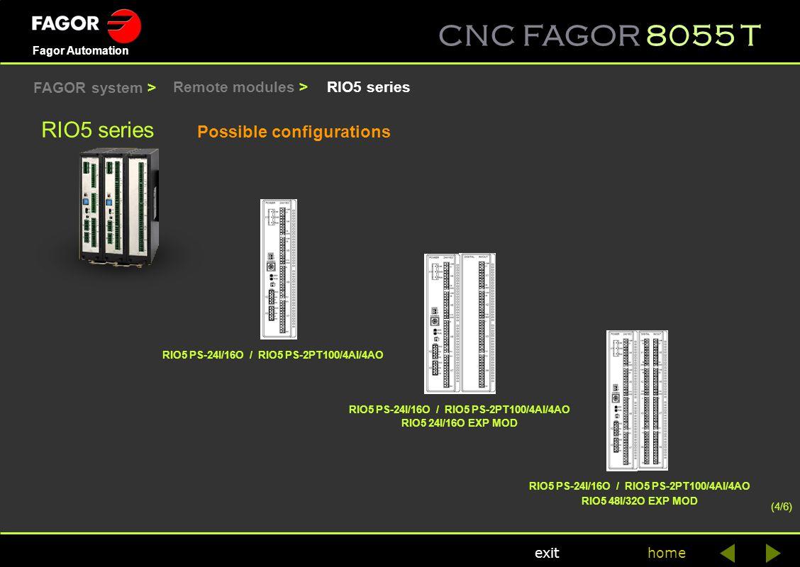 CNC FAGOR 8055 T home Fagor Automation exit RIO5 series Possible configurations (4/6) RIO5 series RIO5 PS-24I/16O / RIO5 PS-2PT100/4AI/4AO RIO5 24I/16