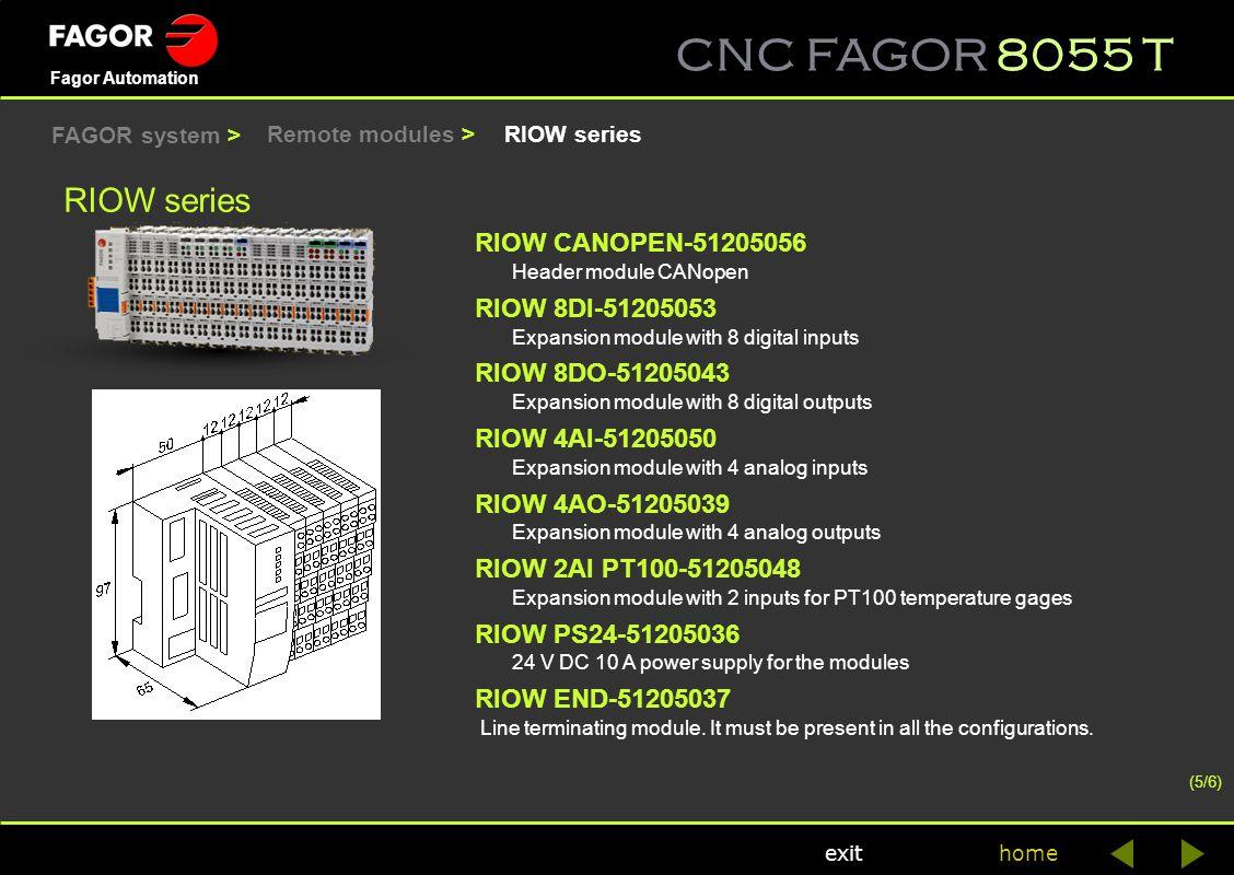 CNC FAGOR 8055 T home Fagor Automation exit RIOW series RIOW CANOPEN-51205056 Header module CANopen RIOW 8DI-51205053 Expansion module with 8 digital