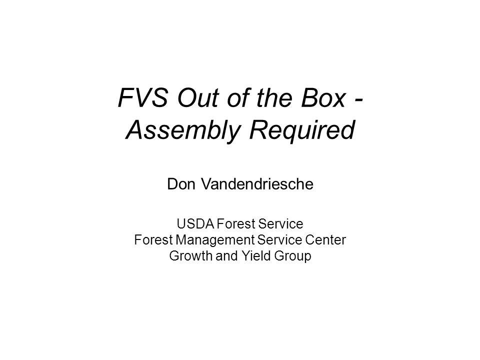 - FVS Self-Calibration I.StratificationII. DataIII.