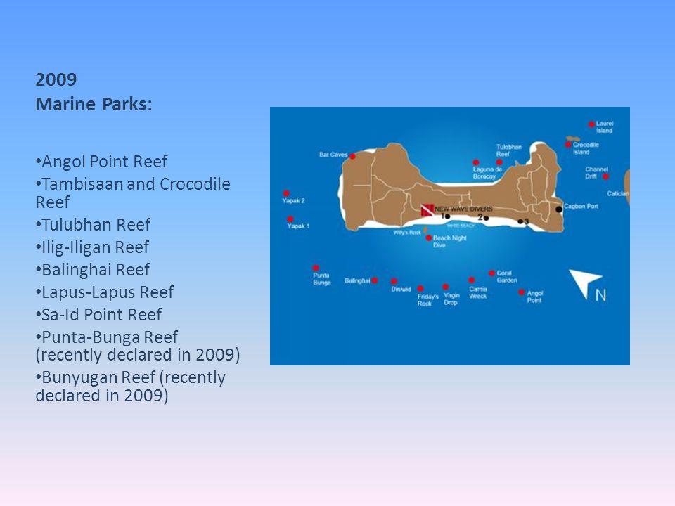 2009 Marine Parks: Angol Point Reef Tambisaan and Crocodile Reef Tulubhan Reef Ilig-Iligan Reef Balinghai Reef Lapus-Lapus Reef Sa-Id Point Reef Punta