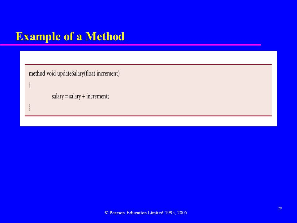29 Example of a Method © Pearson Education Limited 1995, 2005