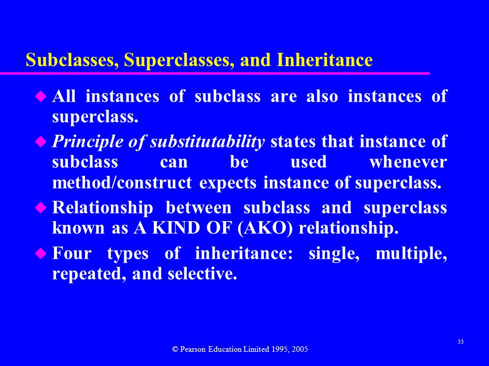 33 Subclasses, Superclasses, and Inheritance u All instances of subclass are also instances of superclass.