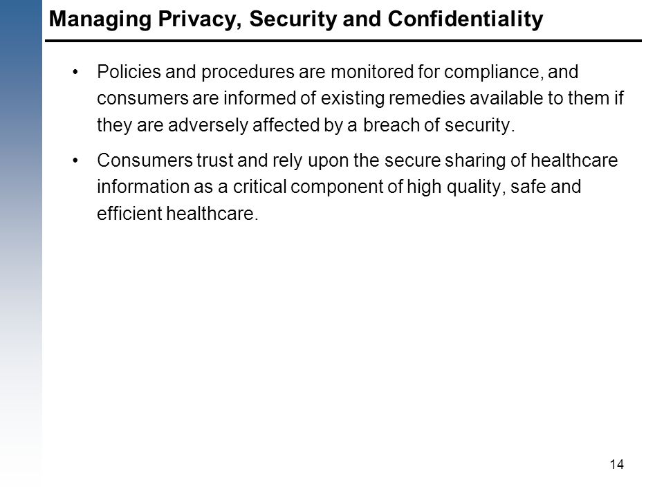 Managing Privacy, Security and Confidentiality Policies and procedures are monitored for compliance, and consumers are informed of existing remedies a