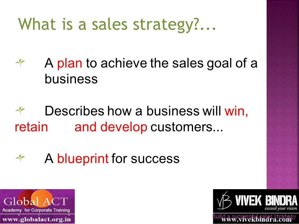 A plan to achieve the sales goal of a business Describes how a business will win, retain and develop customers... A blueprint for success Build a succ