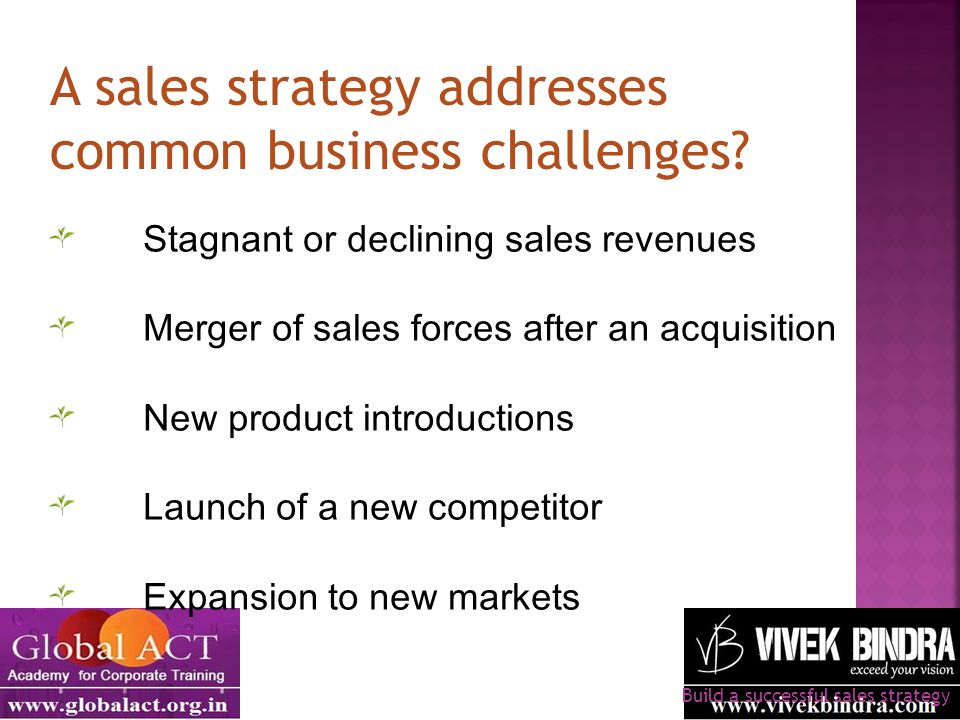 A sales strategy addresses common business challenges? Build a successful sales strategy Stagnant or declining sales revenues Merger of sales forces a