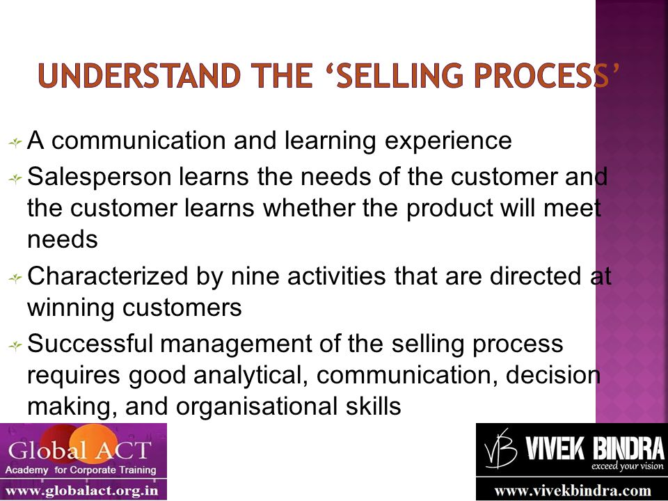 A communication and learning experience Salesperson learns the needs of the customer and the customer learns whether the product will meet needs Chara
