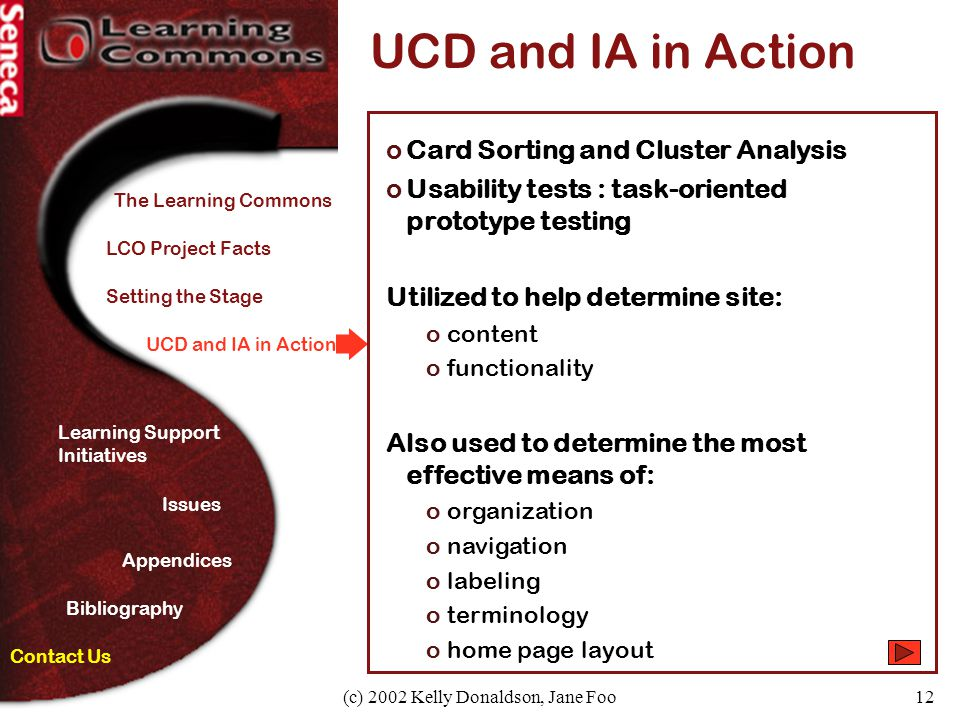 (c) 2002 Kelly Donaldson, Jane Foo12 UCD and IA in Action oCard Sorting and Cluster Analysis oUsability tests : task-oriented prototype testing Utiliz