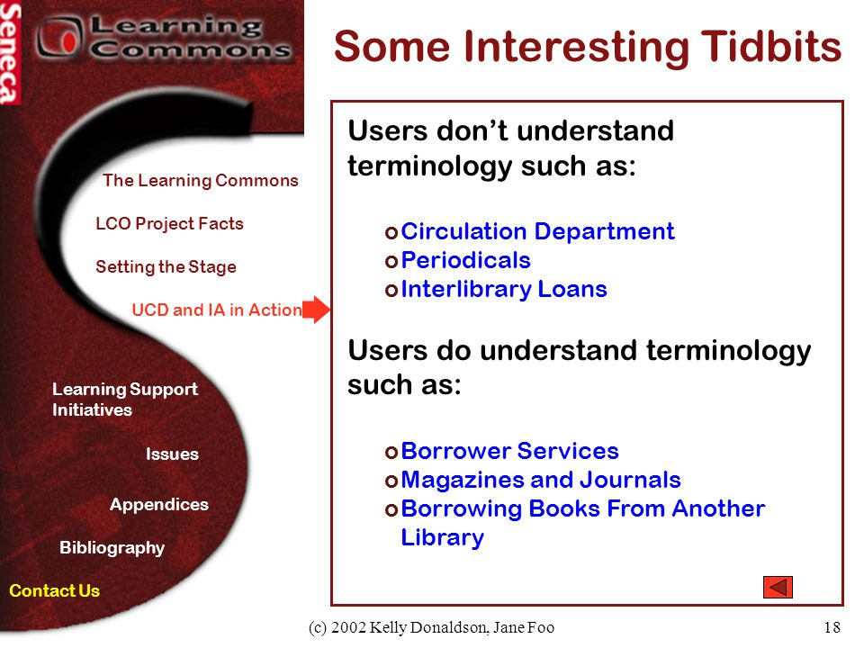 (c) 2002 Kelly Donaldson, Jane Foo18 UCD and IA in Action Some Interesting Tidbits Users don't understand terminology such as: oCirculation Department