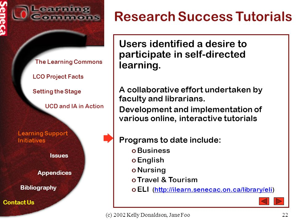 (c) 2002 Kelly Donaldson, Jane Foo22 Learning Support Initiatives Research Success Tutorials Users identified a desire to participate in self-directed learning.