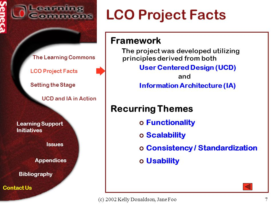 (c) 2002 Kelly Donaldson, Jane Foo7 LCO Project Facts Framework The project was developed utilizing principles derived from both User Centered Design
