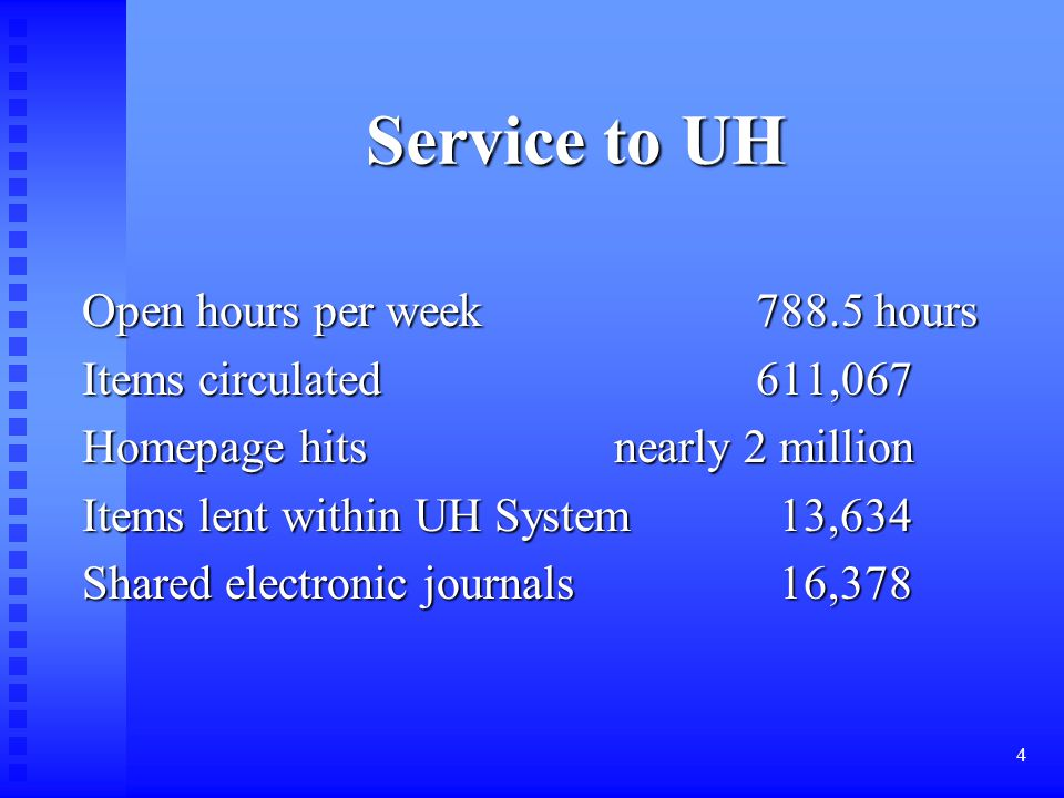 4 Service to UH Service to UH Open hours per week 788.5 hours Items circulated 611,067 Homepage hits nearly 2 million Items lent within UH System 13,634 Shared electronic journals 16,378