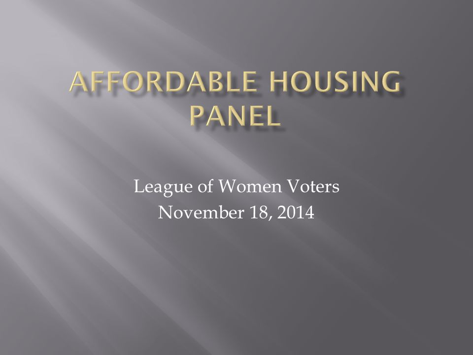 League of Women Voters November 18, 2014