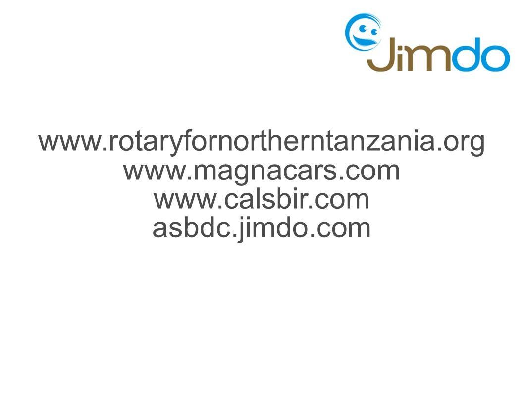 www.rotaryfornortherntanzania.org www.magnacars.com www.calsbir.com asbdc.jimdo.com