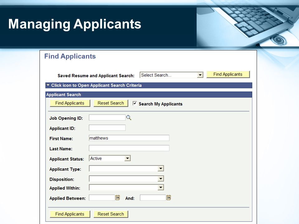 Managing Applicants