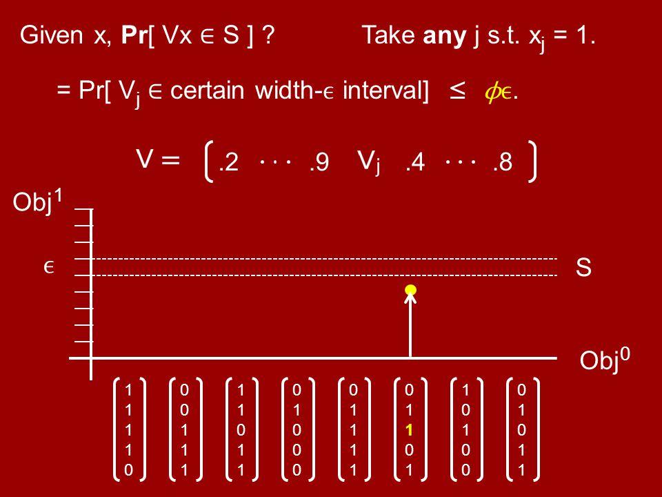 Obj 0 0101101011 1010010100 0110101101 0111101111 0100001000 1101111011 0011100111 1111011110 Obj 1 Given x, Pr[ Vx ∈ S ] ? S Take any j s.t. x j = 1.