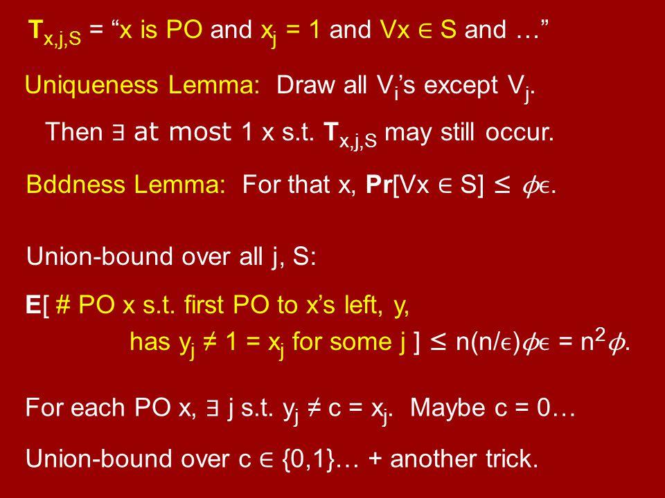 """T x,j,S = """"x is PO and x j = 1 and Vx ∈ S and …"""" Uniqueness Lemma: Draw all V i 's except V j. Then ∃ at most 1 x s.t. T x,j,S may still occur. Bddnes"""