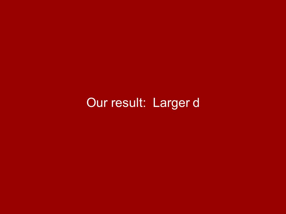 Our result: Larger d