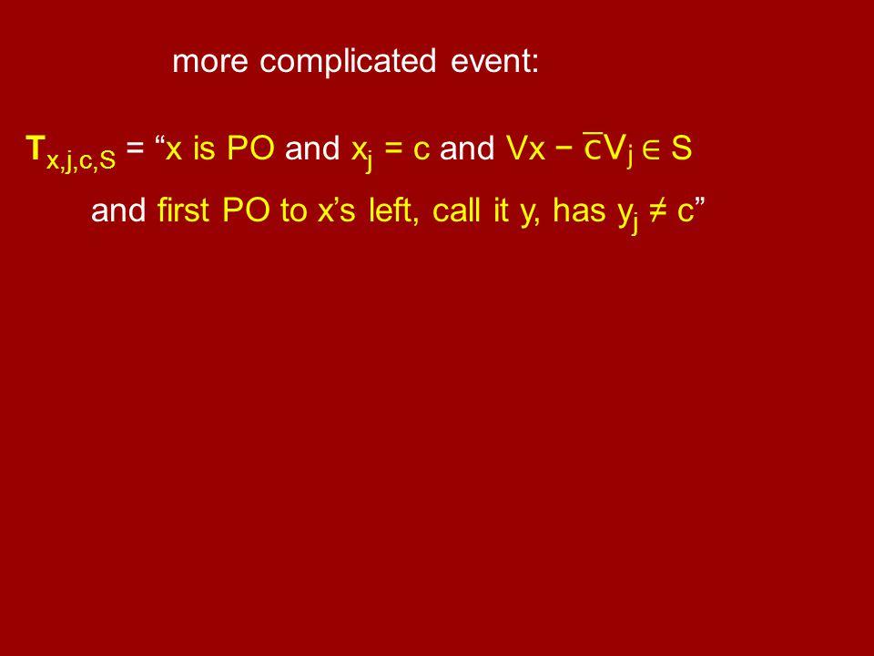 """more complicated event: T x,j,c,S = """"x is PO and x j = c and Vx − ∈ S and first PO to x's left, call it y, has y j ≠ c"""""""