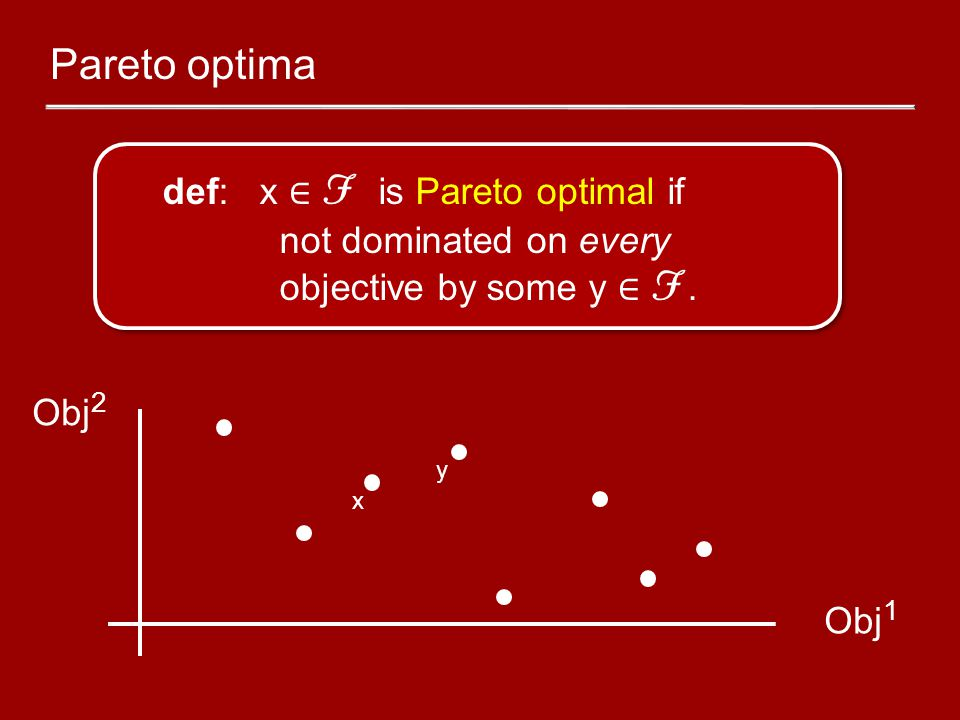 Pareto optima def: x ∈ F is Pareto optimal if not dominated on every objective by some y ∈ F. Obj 1 Obj 2 x y