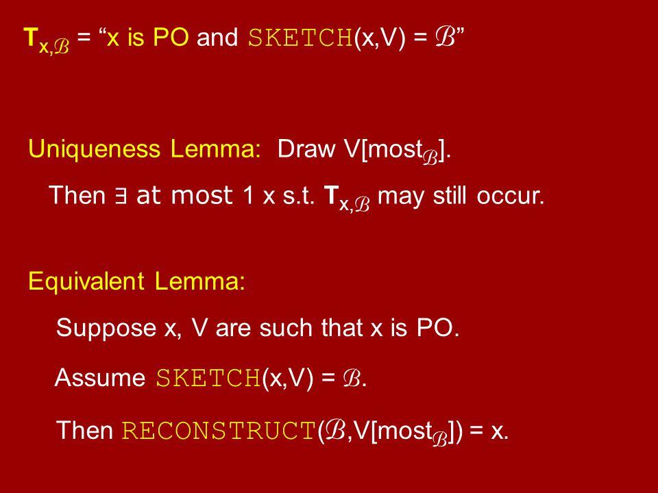 "Uniqueness Lemma: Draw V[most B ]. Then ∃ at most 1 x s.t. T x, B may still occur. T x, B = ""x is PO and SKETCH (x,V) = B "" Equivalent Lemma: Suppose"