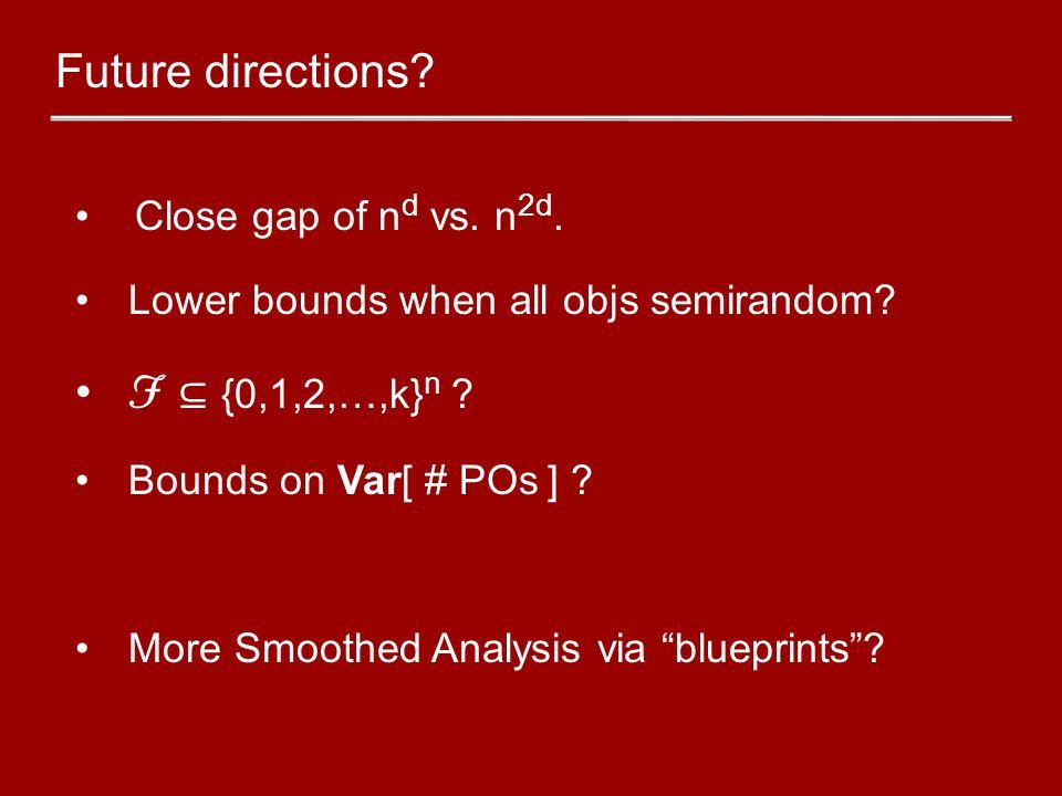 "Close gap of n d vs. n 2d. Lower bounds when all objs semirandom? F ⊆ {0,1,2,…,k} n ? Bounds on Var[ # POs ] ? More Smoothed Analysis via ""blueprints"""