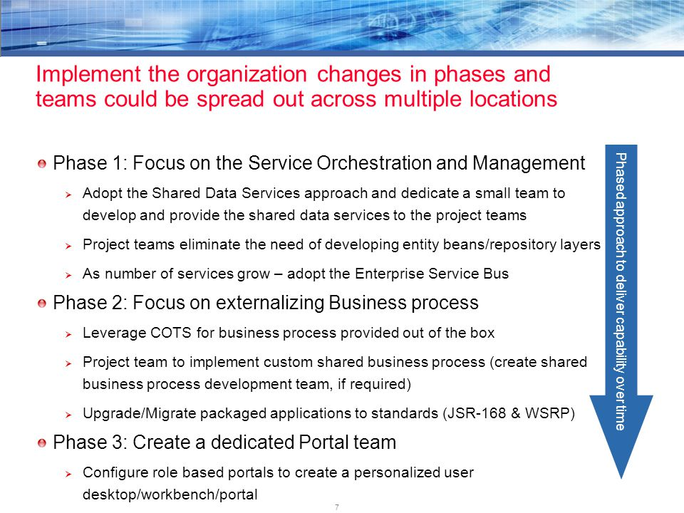 7 Phase 1: Focus on the Service Orchestration and Management  Adopt the Shared Data Services approach and dedicate a small team to develop and provid