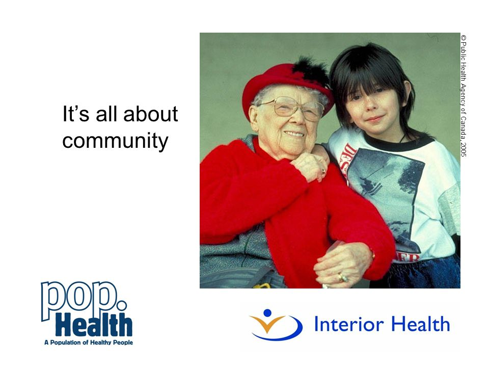 It's all about community © Public Health Agency of Canada, 2005