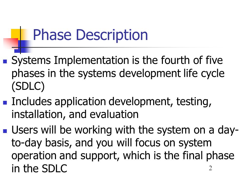 43 System Changeover Phased Operation You give a part of the system to all users The risk of errors or failures is limited to the implemented module only Is less expensive than full parallel operation Is not possible, however, if the system cannot be separated easily into logical modules or segments