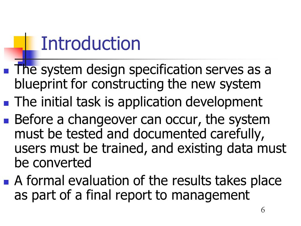 What does phase design specification mean?