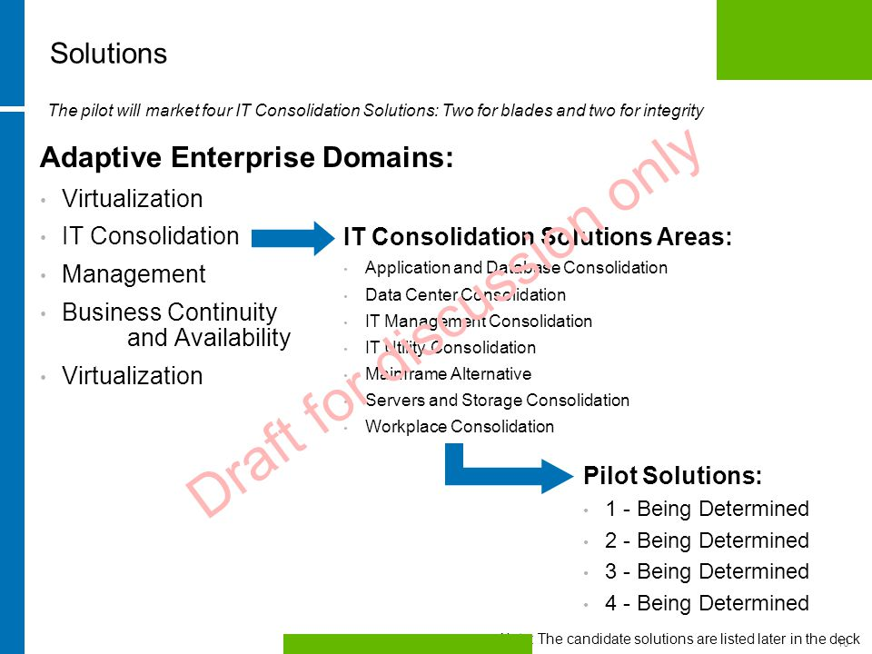 HP Confidential10 Adaptive Enterprise Domains: Virtualization IT Consolidation Management Business Continuity and Availability Virtualization IT Consolidation Solutions Areas: Application and Database Consolidation Data Center Consolidation IT Management Consolidation IT Utility Consolidation Mainframe Alternative Servers and Storage Consolidation Workplace Consolidation The pilot will market four IT Consolidation Solutions: Two for blades and two for integrity Solutions Pilot Solutions: 1 - Being Determined 2 - Being Determined 3 - Being Determined 4 - Being Determined Draft for discussion only Note: The candidate solutions are listed later in the deck
