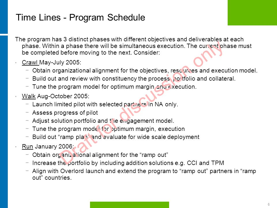 HP Confidential6 Time Lines - Program Schedule The program has 3 distinct phases with different objectives and deliverables at each phase.