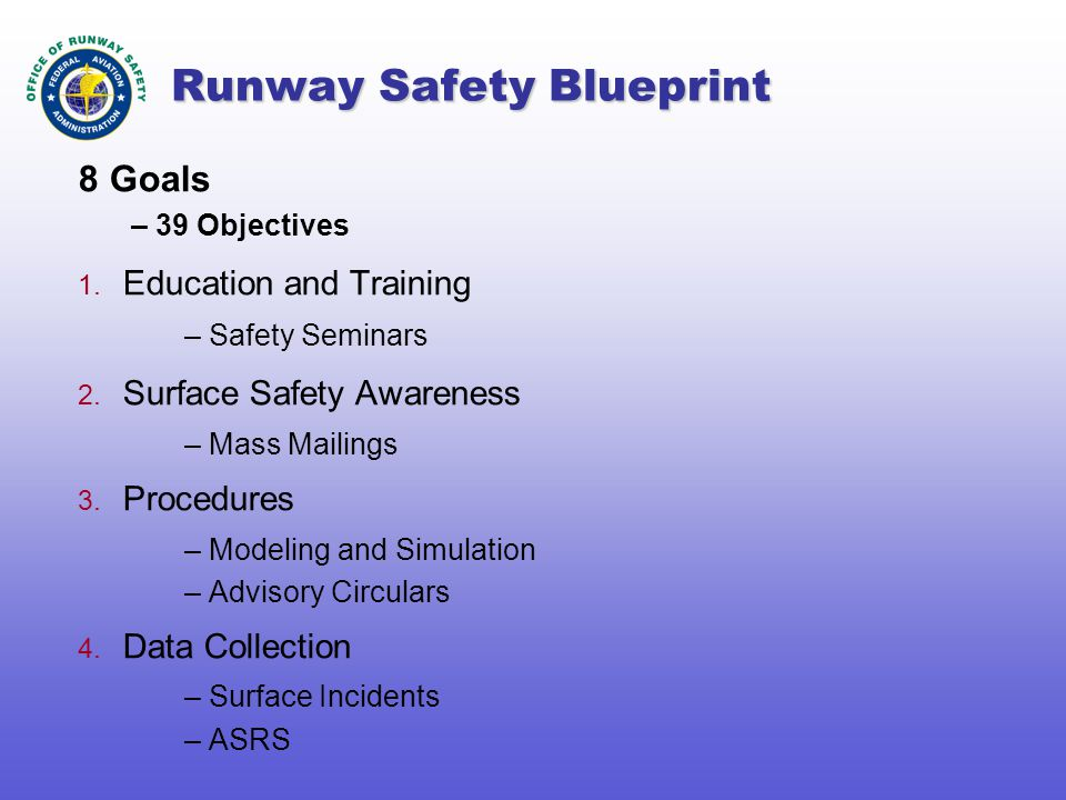Runway Safety Blueprint 8 Goals – 39 Objectives 1.