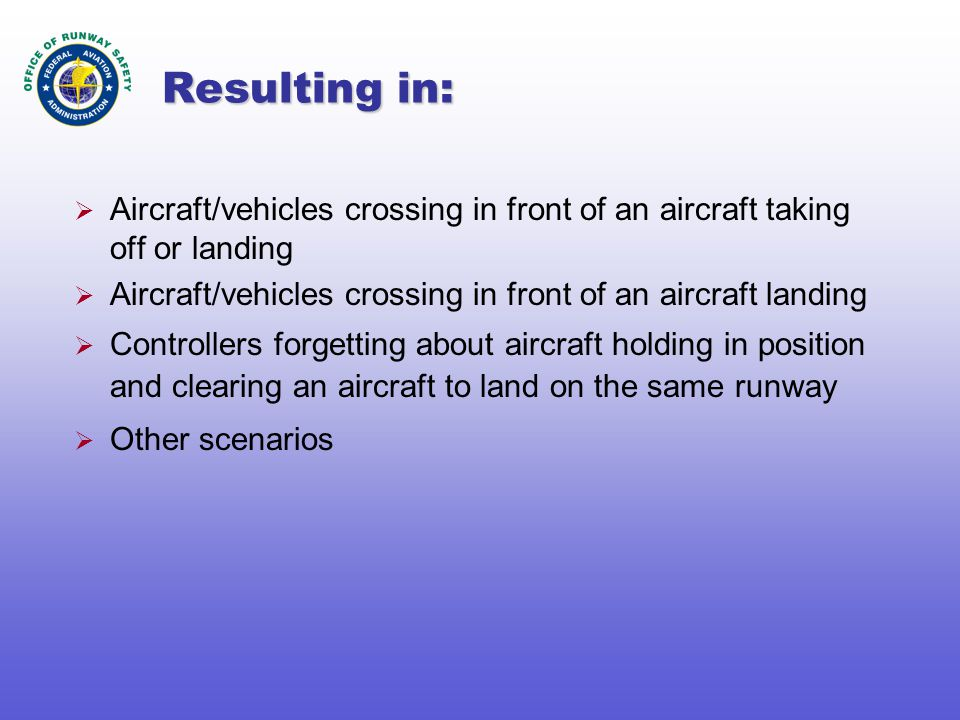 Resulting in:  Aircraft/vehicles crossing in front of an aircraft taking off or landing  Aircraft/vehicles crossing in front of an aircraft landing